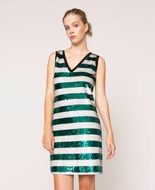 "Full sequin two-tone stripe dress Pale Emerald Sequin / ""Silk"" White Stripes Woman 201ST2222-02"