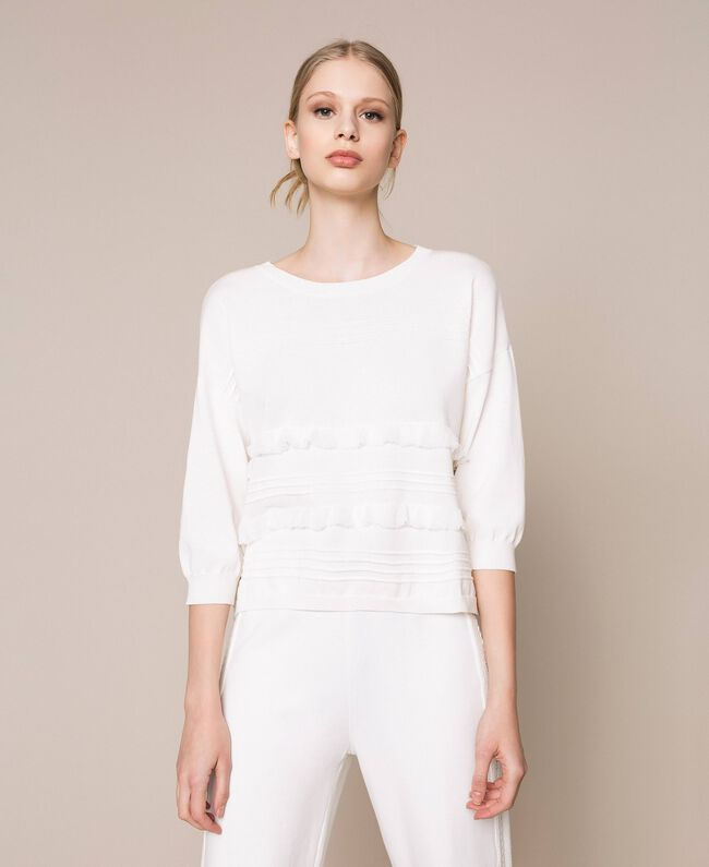 Jumper with stitching and frills White Woman 201ST3063-01