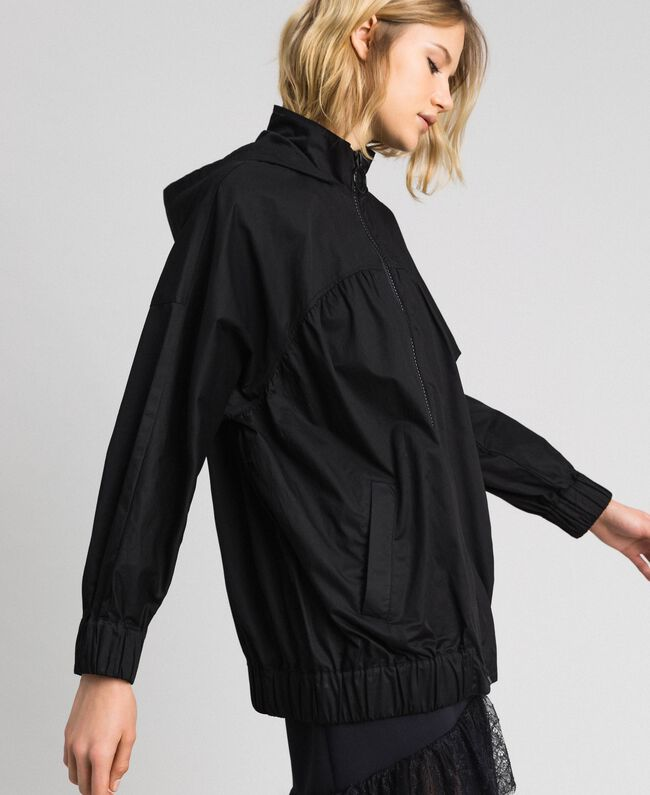 Jacket with maxi writing Black Woman 192LI2JDD-03