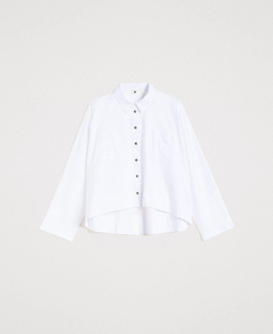 Camicia in popeline con tasche Bianco Donna 191LL23LL-0S