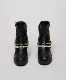 Bottines motardes avec brides, chaînes et perles Noir Femme 192MCP050-05