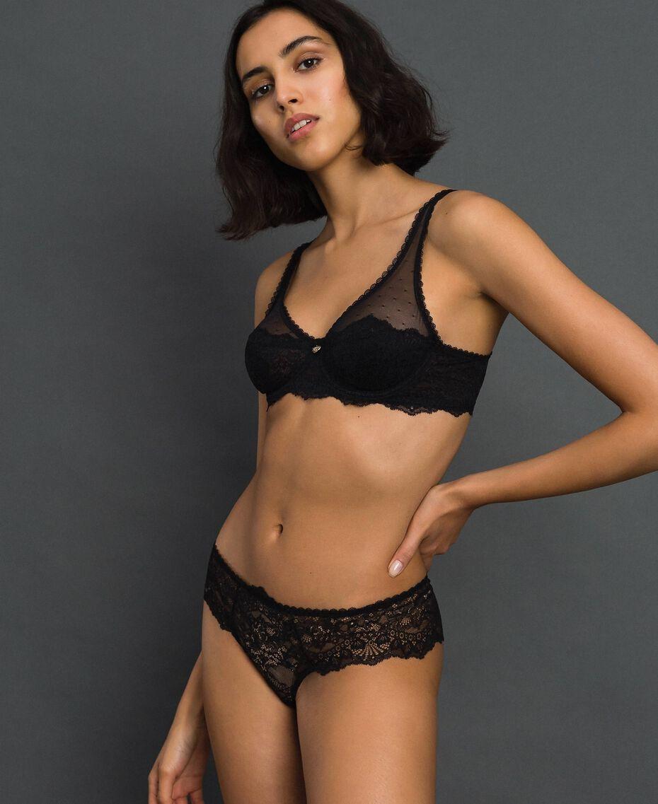 Culotte brésilienne en dentelle Noir Femme 192LL6C77-02