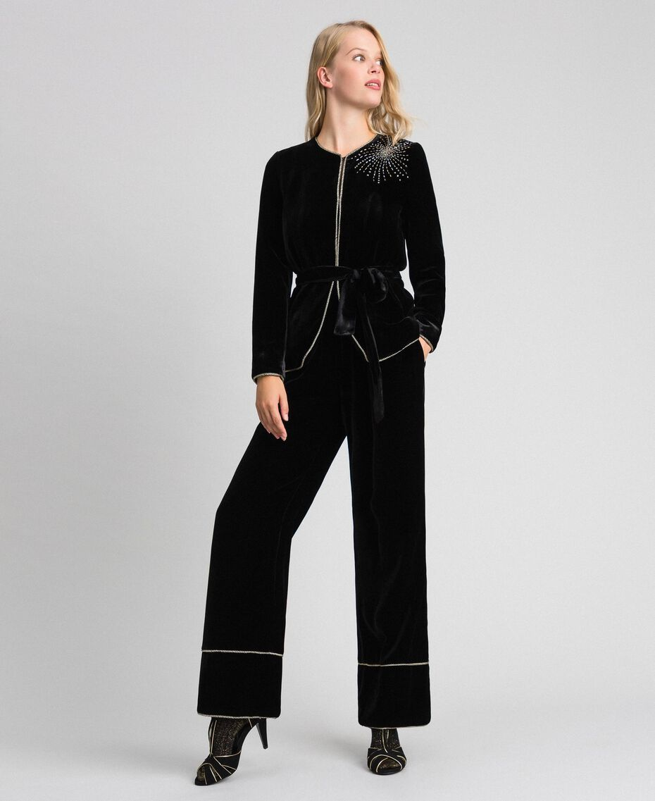 Pantalon palazzo en velours Noir Femme 192TT2425-0T