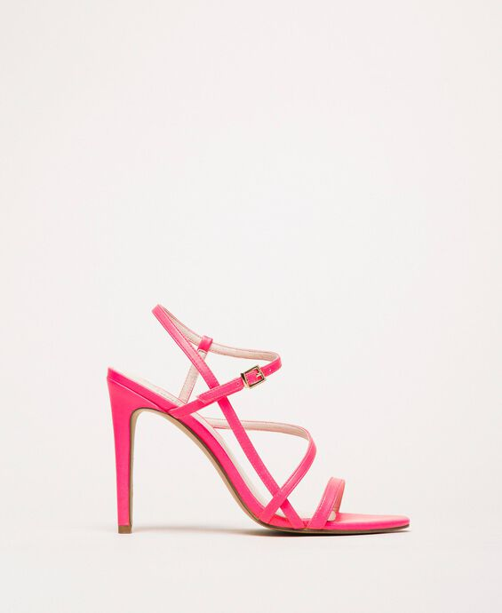 Fluorescent faux leather high heel sandals