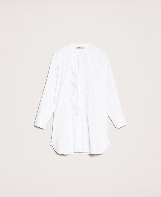 Bluse aus Popeline mit Volant