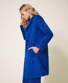 Mantel aus gerautem Tuch Dunkles Kornblumenblau Frau 202TP2602-01