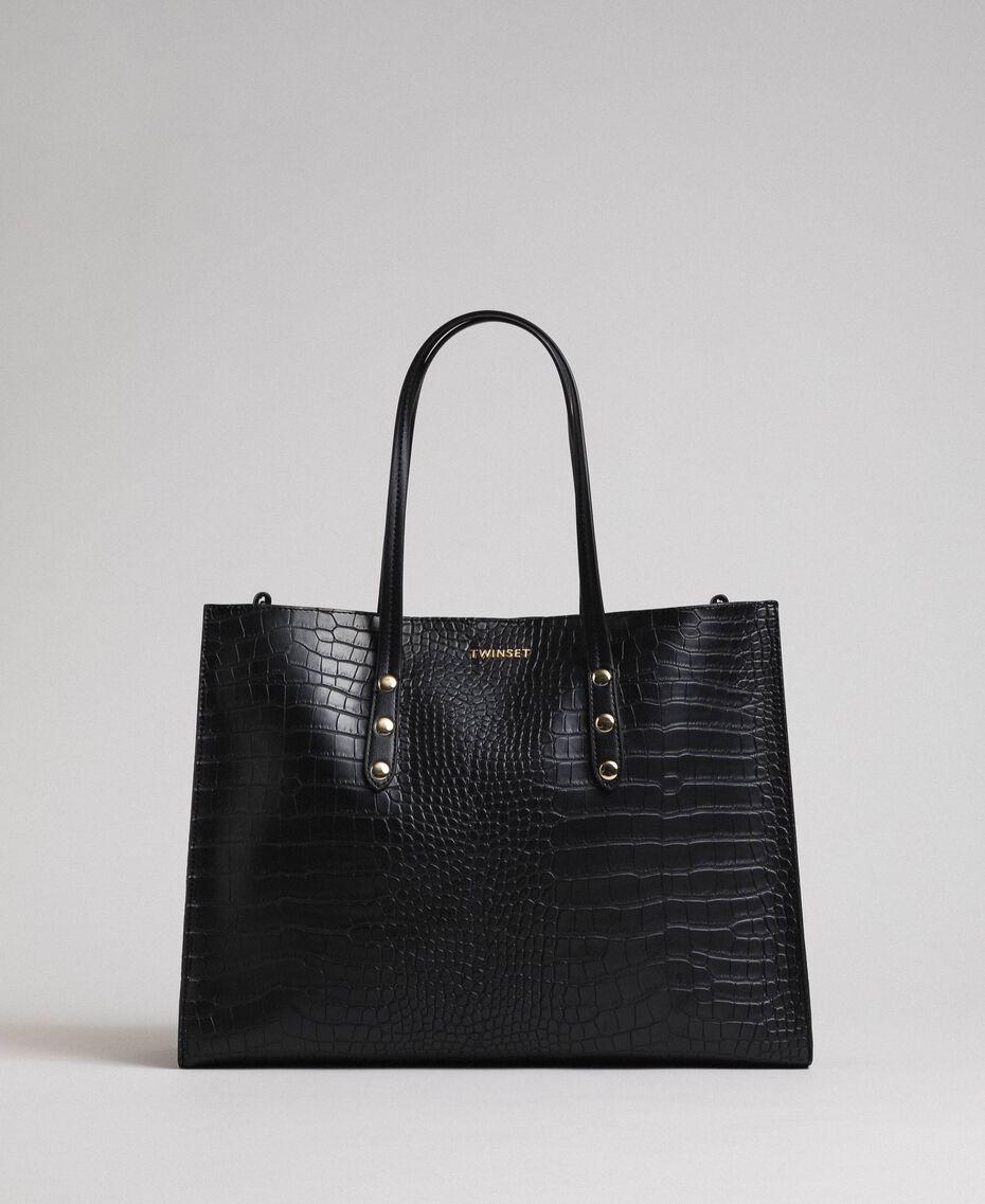 Grand sac cabas avec imprimé crocodile Imprimé Croco Noir Femme 192TA7274-03
