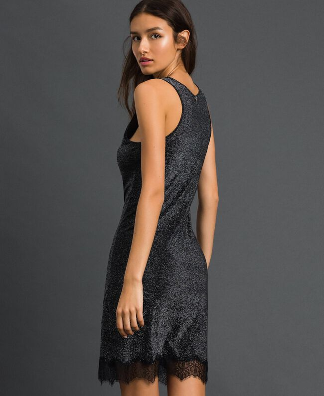 Nuisette en lurex avec dentelle Noir Lurex Argent Femme 192LL6BNN-03