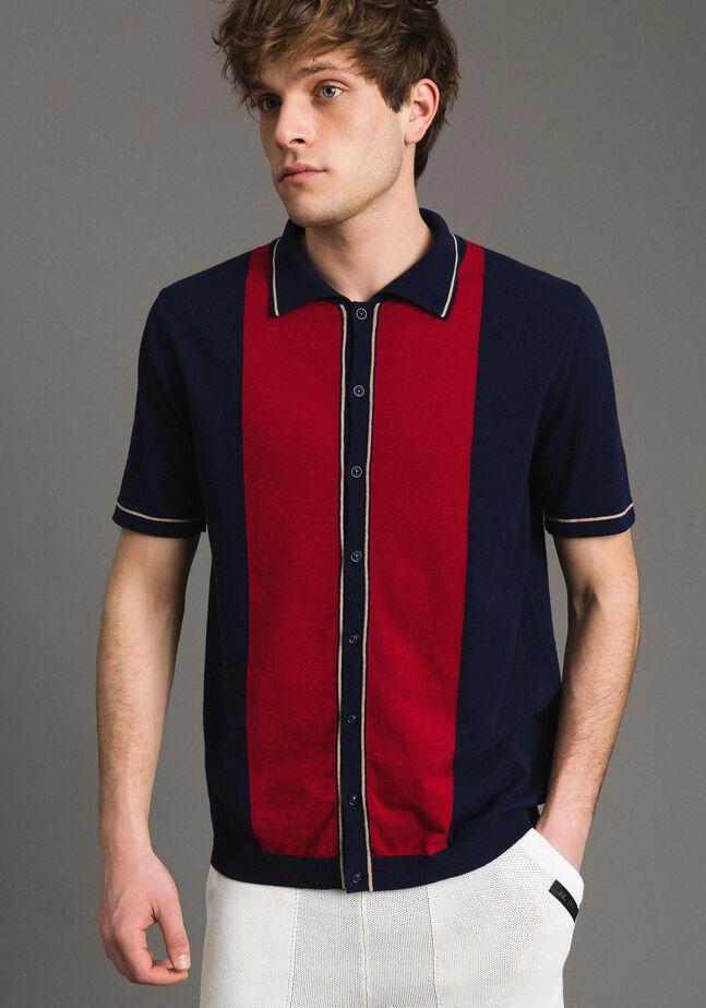 Chemise polo en crêpe de coton ornée d'un motif incrusté