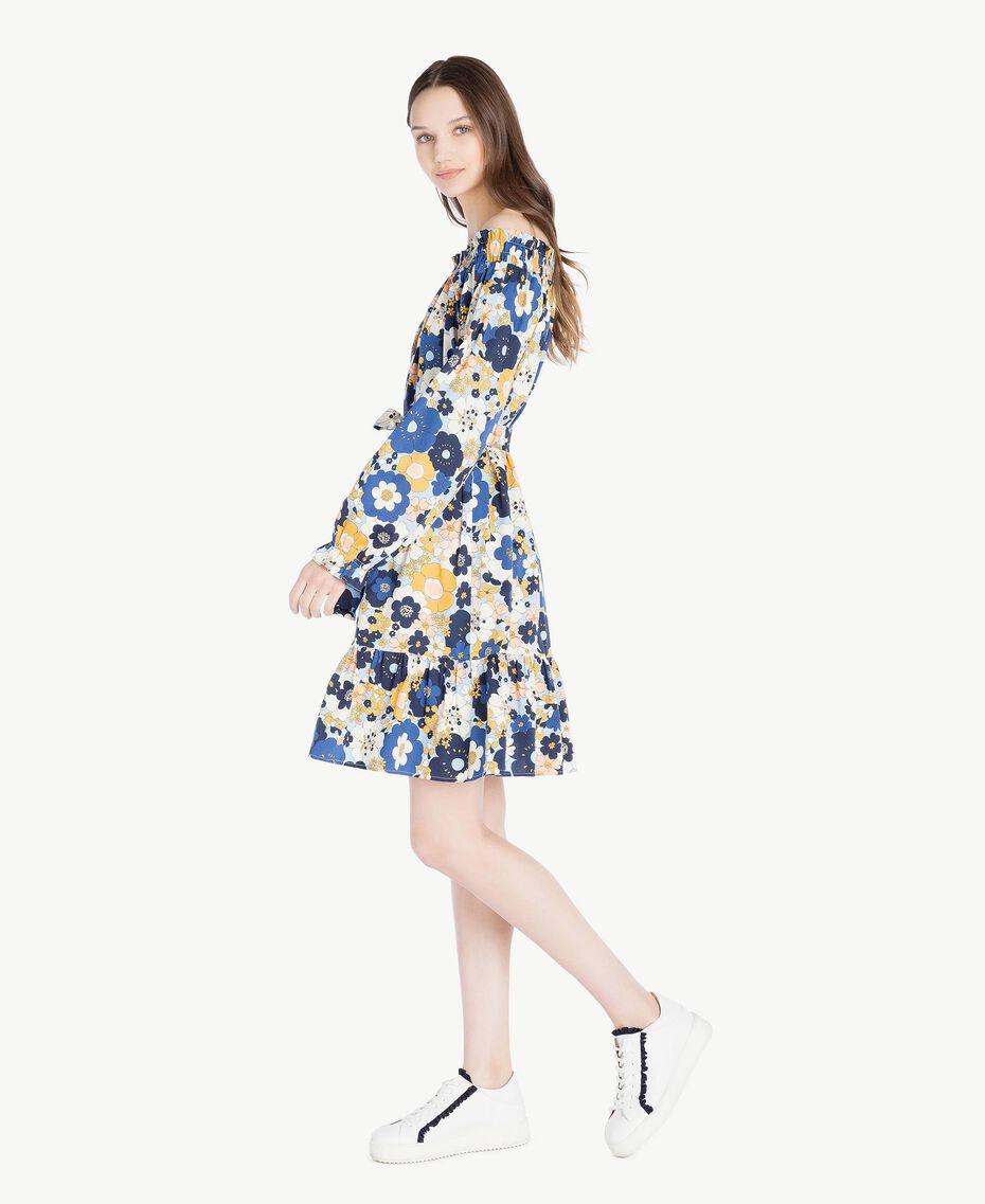 Printed dress Flat Flower Print Placid Blue Woman SS82PC-02