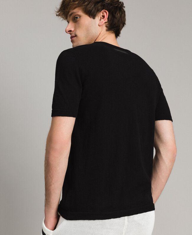 T-Shirt aus Slub-Baumwollmischung Schwarz Mann 191UT3071-03