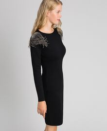 Sheath dress with rhinestone chains Black Woman 192TT3076-01