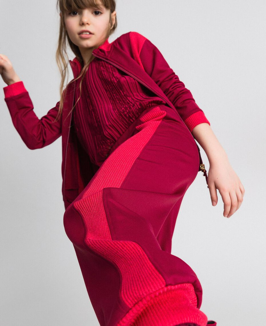 "Colour block sweatshirt with zip and jogging trousers Ruby Wine / ""Candy"" Fuchsia Child 192GJ2240-02"