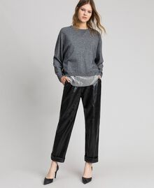 Boxy jumper with slip top Medium Gray Mélange Woman 192MP3101-01