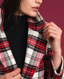 Manteau long en laine à carreaux Jacquard Grand Tartan Femme 192TP2611-06