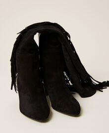 Bottes montantes en cuir avec franges Noir Femme 212TCP10C-05