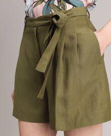 """Linen shorts """"Olive"""" Green Woman 191TT2309-02"""
