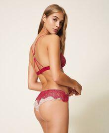 Culotte brésilienne en dentelle bicolore Bicolore Violet Bleu / Marron «Amber Dust» Femme 202LL6A77-03