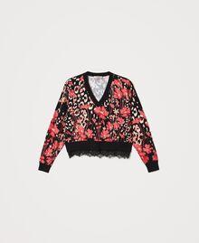 Jersey boxy de flores con encaje Estampado Animal Flowers Negro / Rojo «Cerise» Mujer 202TP3504-0S