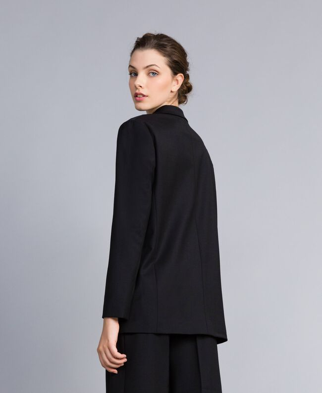 Jacke aus Cool Wool Schwarz Frau PA823R-03