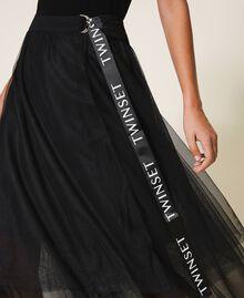 Jupe longue en tulle avec logo Noir Femme 202TT2T56-04