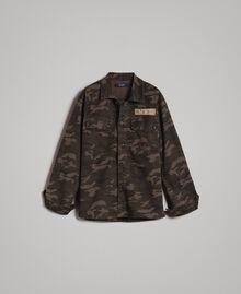 Baumwoll-Hemd mit Camouflage-Aufdruck Motiv Dunkel Camouflage Mann 191UT2020-0S