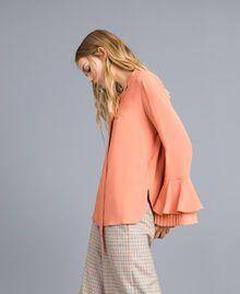 Bluse aus Seidenmischung mit Plissee Sandrosa Frau TA823T-02
