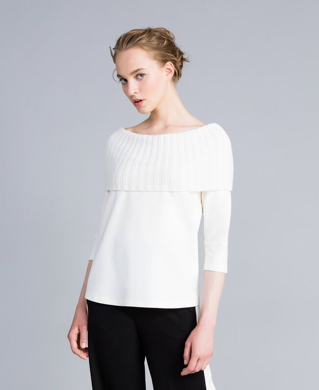 Milan stitch A-line jumper White Snow Woman PA8215-01