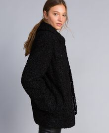 Faux lamb fur peacoat Black Woman JA82KG-02