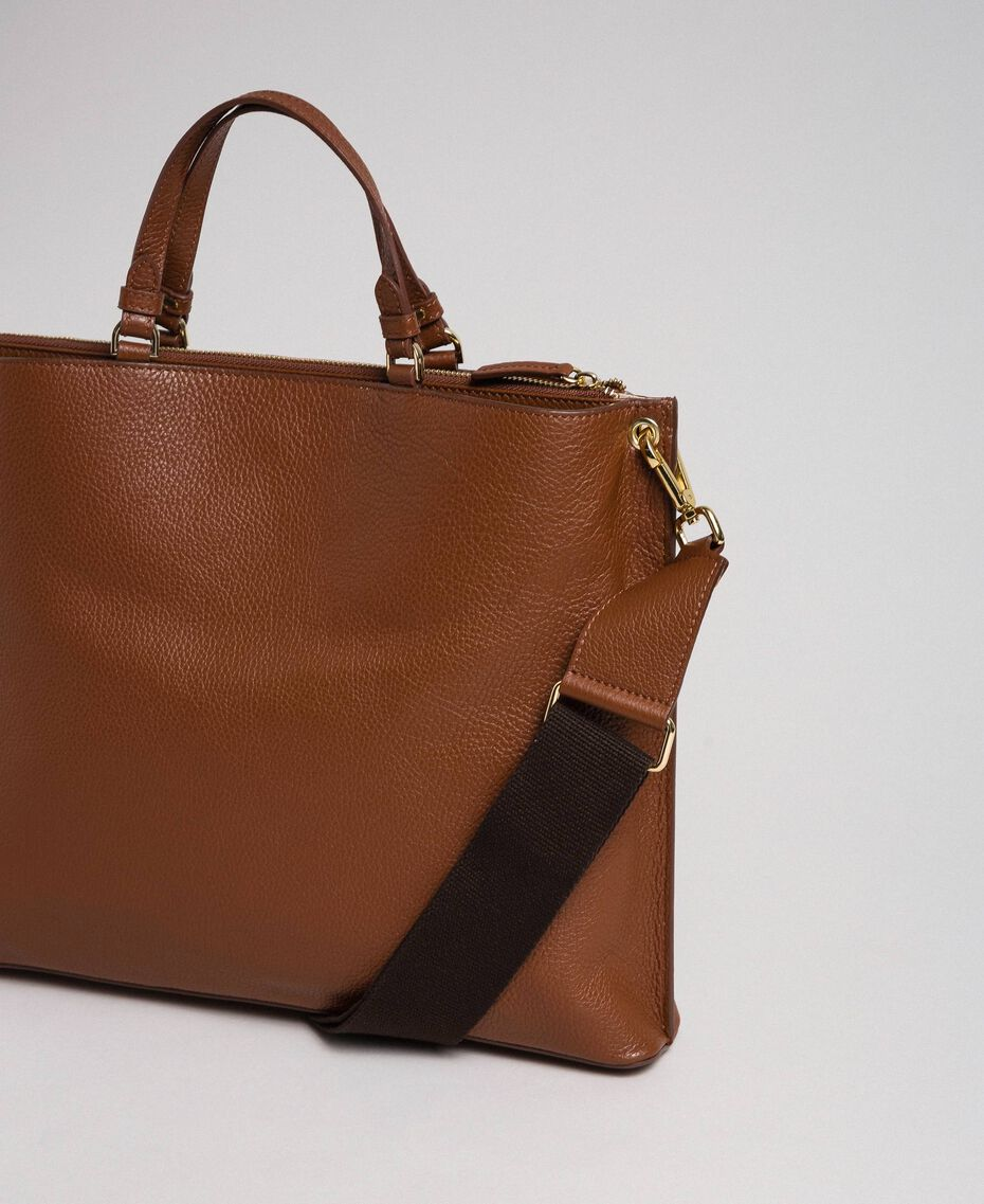 Large leather shopping bag with shoulder strap Leather Brown Woman 192TO8090-02