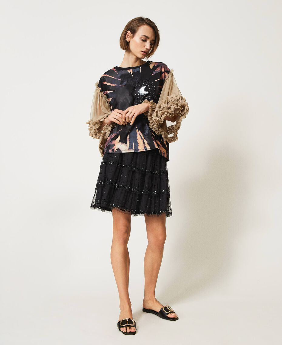 """T-shirt with print and tulle sleeves Two-tone Black / """"Biscuit"""" Brown Moon Print Woman 211MT2491-02"""
