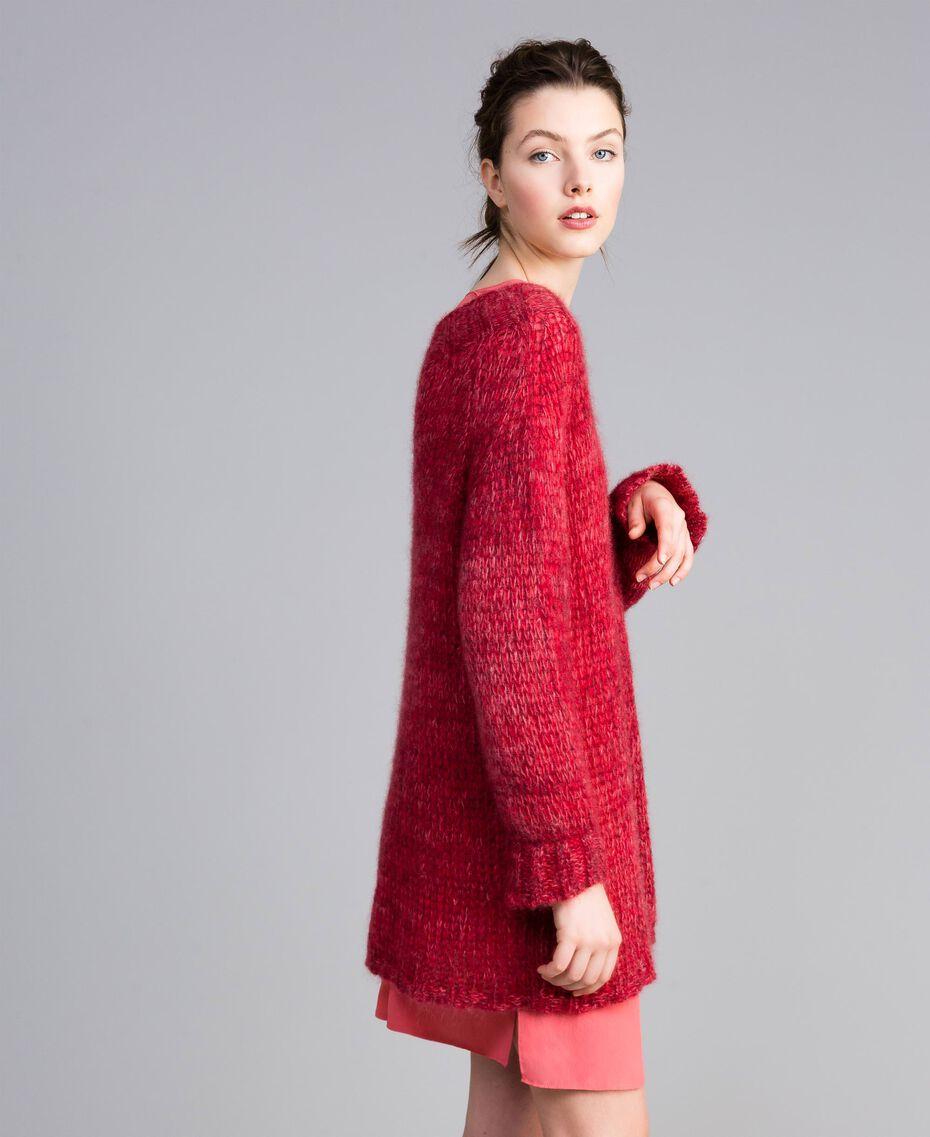 Maxi pull en mohair Rouge Coquelicot Mouliné Femme PA838A-01