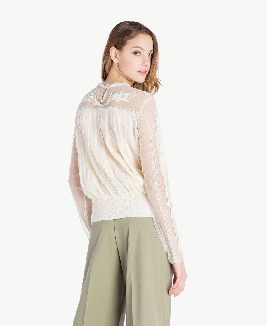 Embroidered blouse Ivory Woman TS82BB-03
