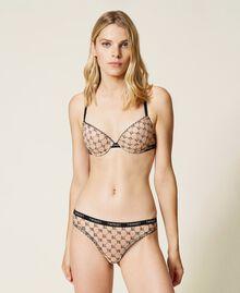 Slip brasiliana in tulle con logo Bicolor Nude Skin / Nero Donna 212LI6C77-02