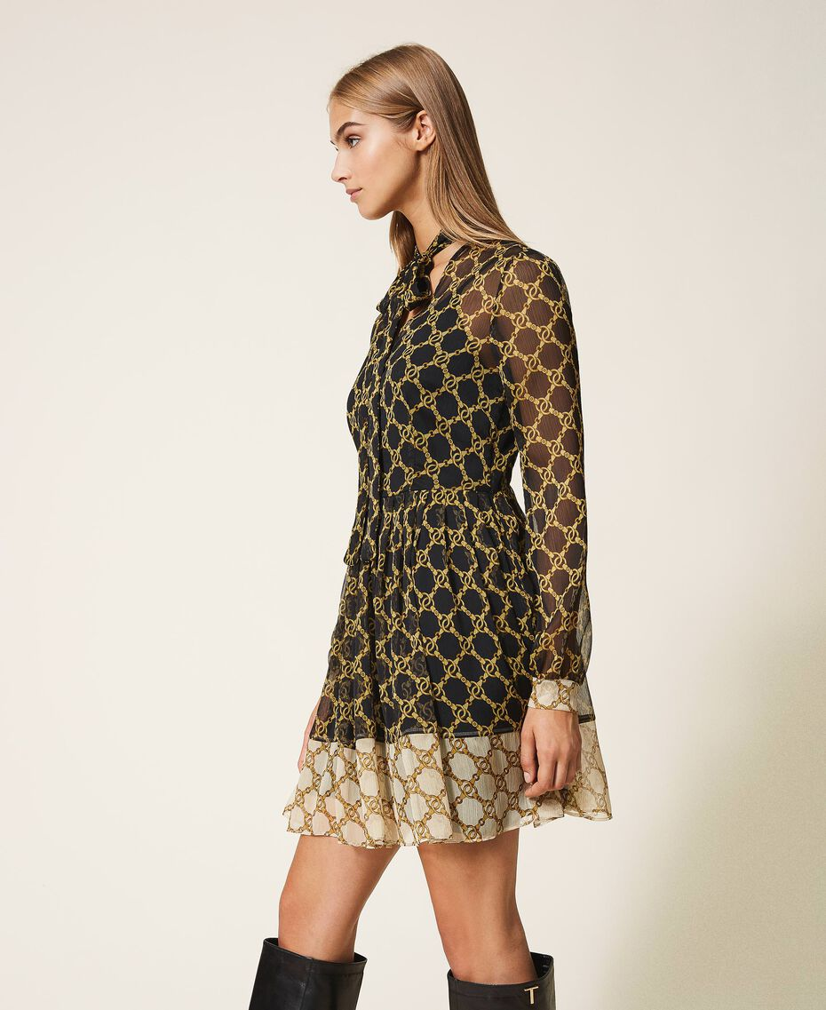 Creponne dress with chain print Black / Ivory Large Chain Print Woman 202TT221C-02
