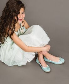 """Leather ballerina shoes with rhinestones Blue Clear """"Water"""" Child 191GCJ072-0S"""