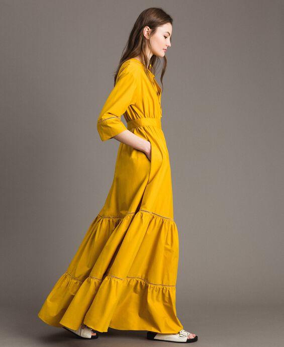Poplin long dress with hemstitch