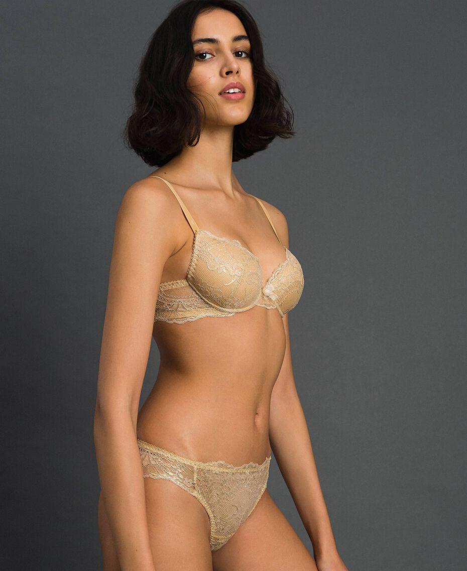 Laminated lace Brazilian briefs Gold Yellow Woman 192LL6H77-01