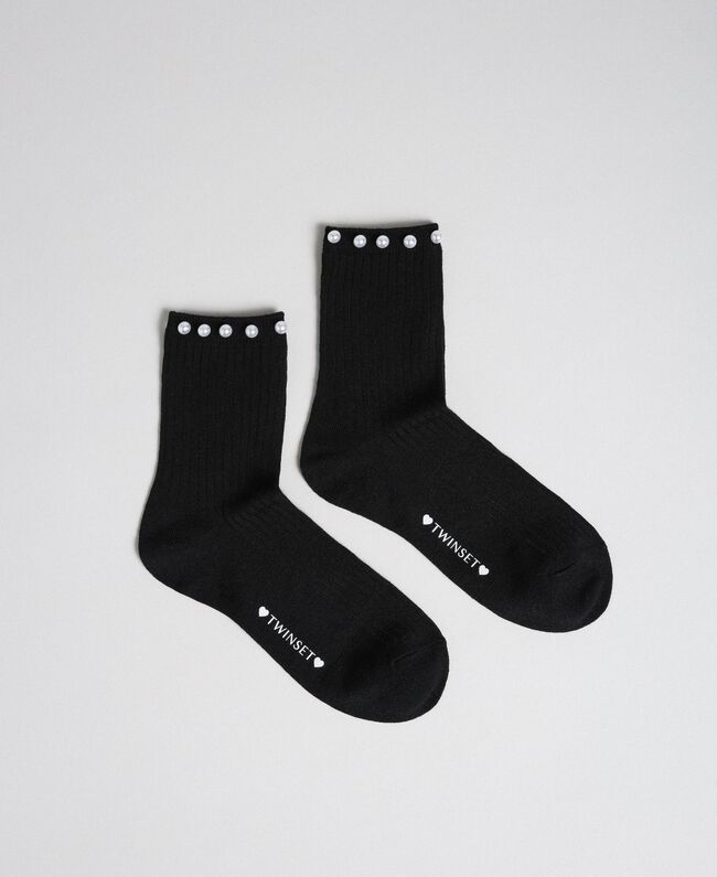 Short socks with pearls Papyrus White Woman 192TA432B-01