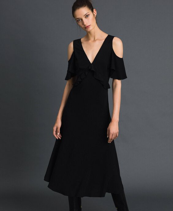 Georgette long dress with flounce