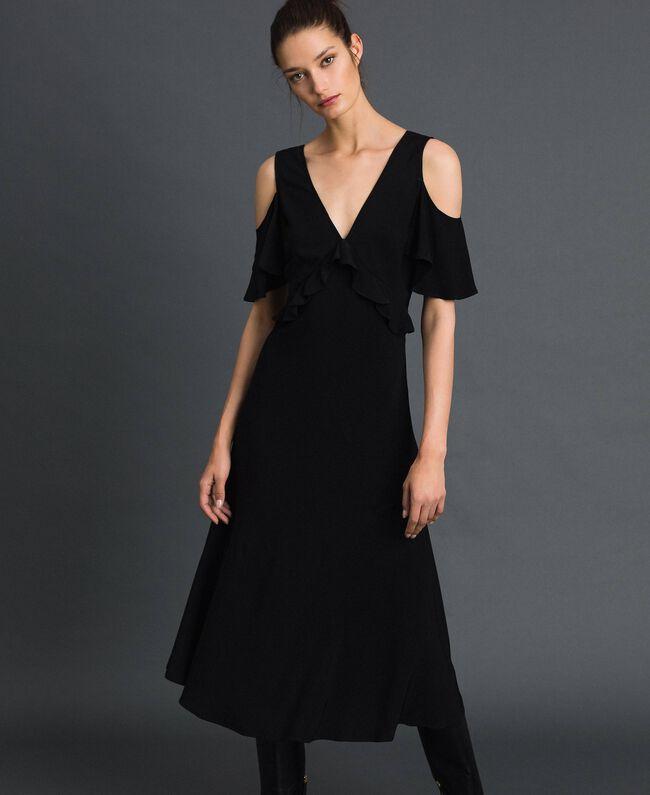 Robe longue en crêpe georgette avec volant Noir Femme 192TP2385-01