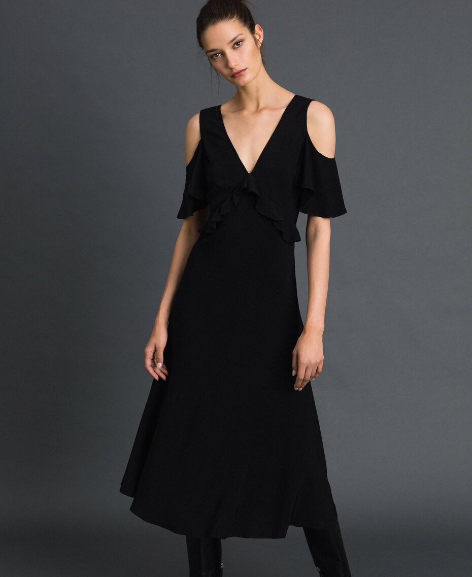 Georgette long dress with flounce Black Woman 192TP2385-01