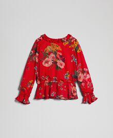 Blouse en crêpe georgette avec imprimé floral Imprimé Fleurs des Champs Grenadier Enfant 192GJ2591-0S
