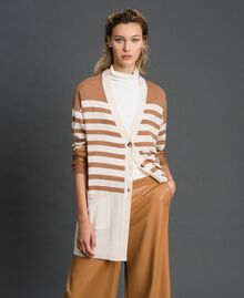 "Wool blend maxi cardigan with stripes and lace Creamy White / ""Sequoia"" Beige Woman 192ST3011-01"