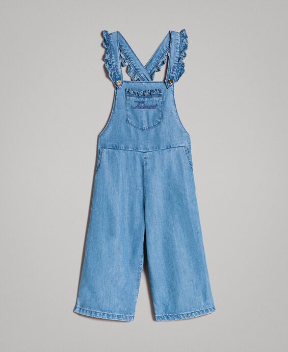 Denim dungarees with logo