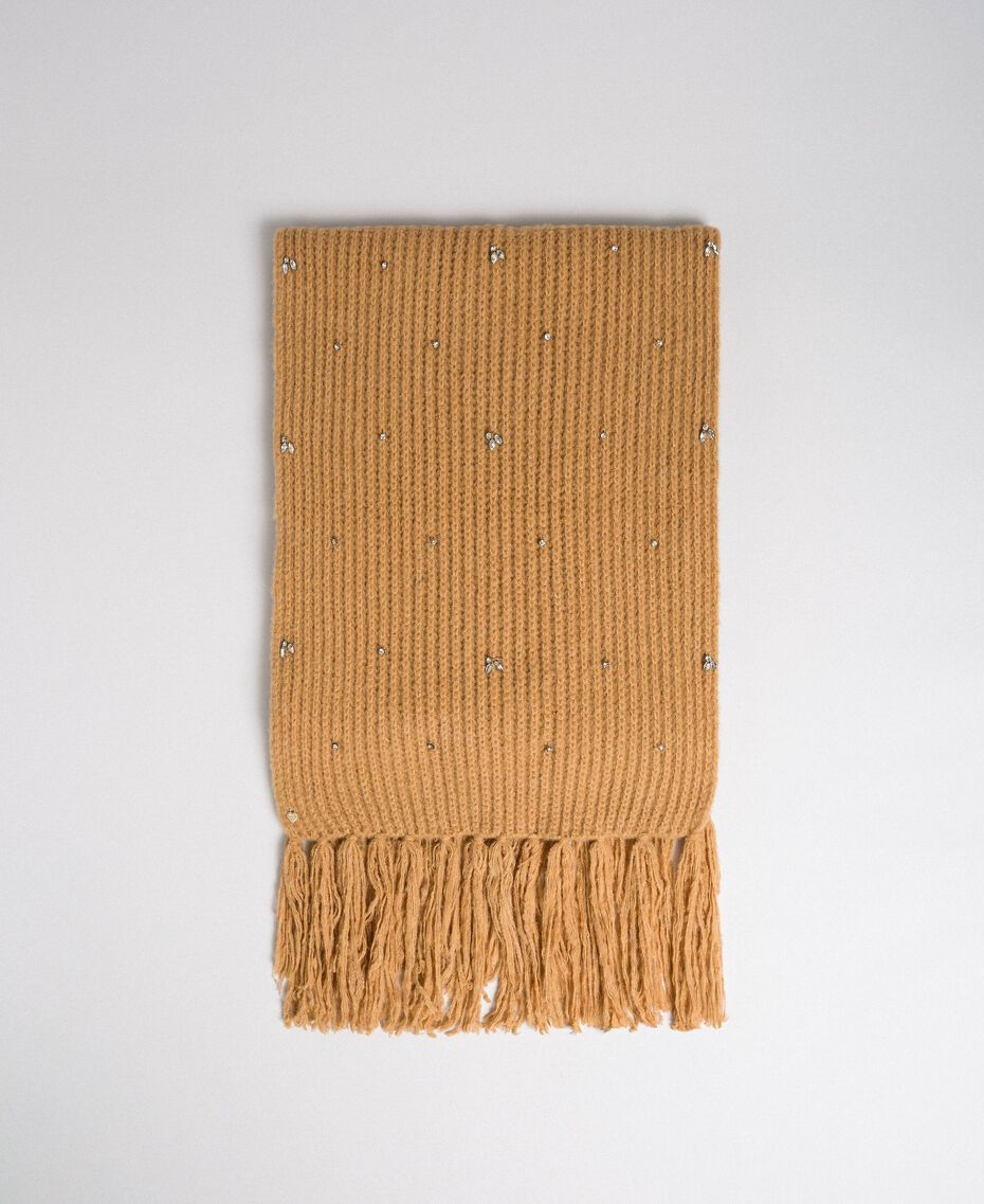 Bezel and fringe scarf Camel Woman 192TO5361-01