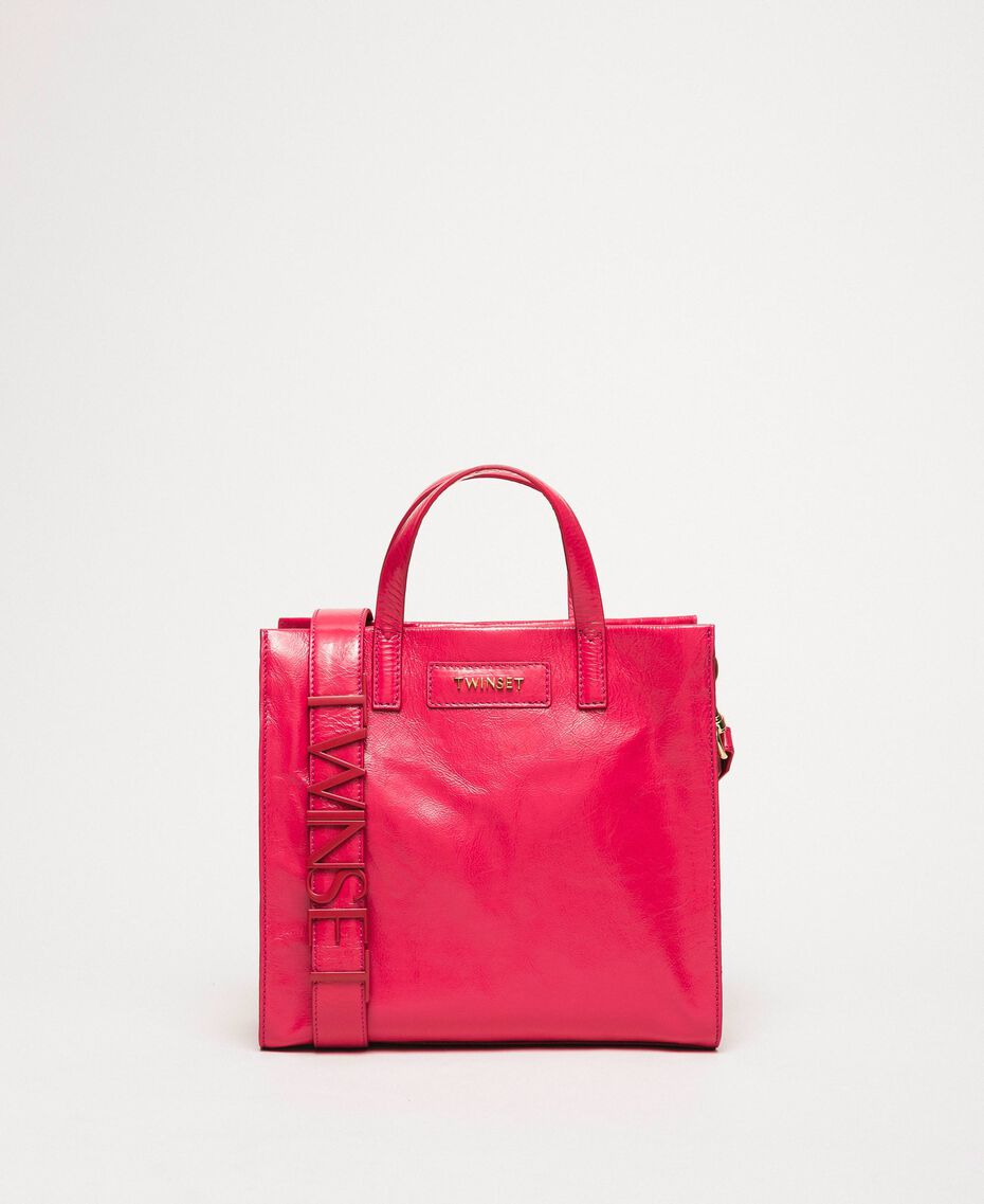 """Medium leather shopper with logo """"Jazz"""" Pink Woman 201TO8091-02"""