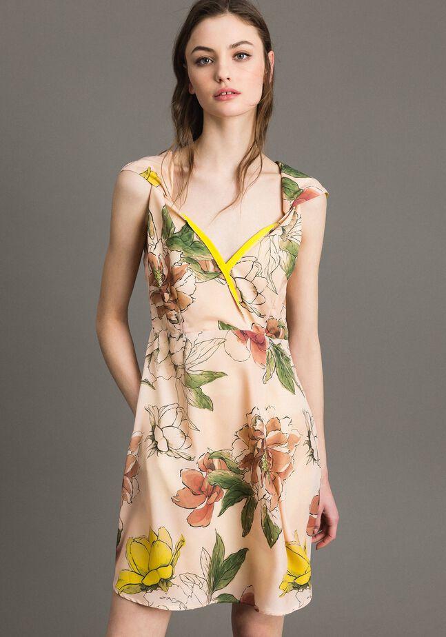 Floral print crêpe de Chine dress