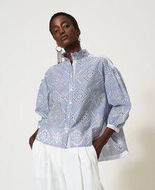 "Poplin shirt with broderie anglaise ""Snow"" White / ""Indigo"" Blue Stripe Broderie Anglaise Woman 211TT2412-05"