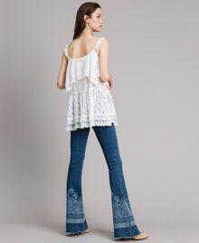 Топ с вышивкой и кружевом Off White женщина 191MT2271-03